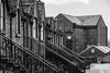 Deanston Clock (TroonTommy) Tags: 2018 deanston distillery doune river scotch scotland teith whisky mono bw clock terrace village houses cotton mill