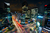 Night scene of light trails traffic speeds through an intersection in Gangnam center business district of Seoul at Seoul city, South Korea. (MongkolChuewong) Tags: 2018 aerial architecture asia asian background blur building business cars center city cityscape civil concept congestion district downtown fast gangnam growth hectic high hurried intersection korea korean light megacity modern motion night office pace palace road scene seoul skyline south speed street time timelapse traffic transportation travel urban vehicles view