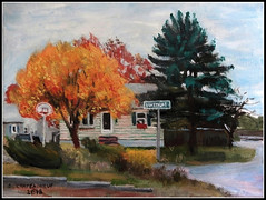 Autumn At The Corner Of Dinsmore Street In Lowell - Acrylic Painting by STEVEN CHATEAUNEUF (2018) (snc145) Tags: autumn fall seasons sky trees bushes flowers house architecture art painting acrylic pretty colorful basketballhoop fence landscape scenery outdoor lowell massachusetts usa flickrunitedaward serene fineart simplysuperb thisisexcellent