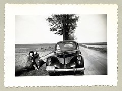 """1939 Willys-Overland (Vintage Cars & People) Tags: vintage classic black white """"blackwhite"""" sw photo foto photography automobile car cars motor willys overland 1939overland willysoverland 1930s thirties road ladies women coats avenue countryside"""