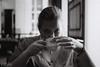 Coffee Club (D. R. Hill Photography) Tags: blackandwhite monochrome nikon nikonfe2 fe2 ilford ilforddelta3200 35mmfilm 135 nikon45mmf28p 45mm primelens fixedfocallength manualfocus analog film grainy grain portrait coffee coffeeclub bokeh