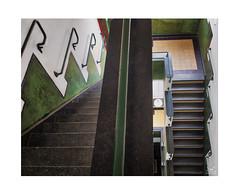 Downstairs (dejongbram) Tags: radiokootwijk veluwe gelderland building architecture multipleexposures aurora2018 stairs green nikond500 staircase nederland flickrbende indoor light interior