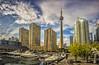 Toronto (wimvandemeerendonk, back from Lofoten) Tags: canada toronto lakeontario sky skyscraper clouds cloud sony reflection panorama golddragon