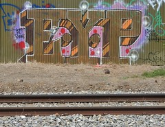 EYP (mikecogh) Tags: tag graffiti railwaytracks eyp fence corrugatediron edwardstown