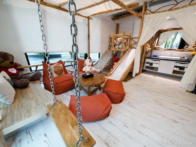 宜蘭民宿水岸楓林|峇里島風的溜滑梯親子民宿|盪鞦韆、戲水池小孩玩瘋了