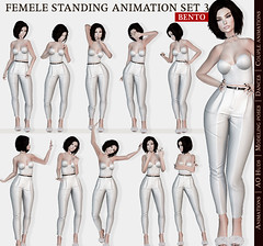 SEmotion Female Stands Set 3 - 10 HQ Bento Animations (Marie Sims) Tags: sl semotion secondlife ao animations poses