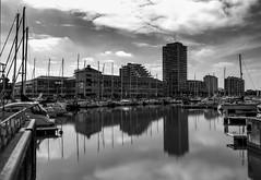 The port of Ostend. (ost_jean) Tags: bw ostend oostende zwartwit ostjean belgie belgique belgium reflections weerspiegeling noiretblanc ostende