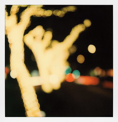 South Lake Bokeh 1 (tobysx70) Tags: polaroid originals color sx70 instant film sx70sonar sonar south lake bokeh avenue pasadena california ca night nocturnal lighttrails red green traffic fairy lights trees blurred out of focus vanishing point toby hancock photography