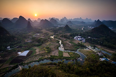 Guilin Sunset (mlhell) Tags: china guilin karstmountains landscape mountains nature rural