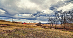 IMG_7276-Ptzl1scTBbLGER2 (ultravivid imaging) Tags: ultravividimaging ultra vivid imaging ultravivid colorful canon canon5dm2 clouds stormclouds sunsetclouds scenic sky fields farm barn trees twilight rural vista lateafternoon spring pennsylvania pa panoramic painterly landscape