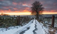 Fire & Ice (calderdalefoto) Tags: calderdale winter snow frost sunset landscape track gate yorkshire westyorkshire england uk halifax