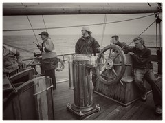 'Look lively lads, Man - O' - War on the port bow'... (zapperthesnapper) Tags: sailingship wheel woodenship canon canonav1 film 35mm sea irishsea morecambebay earlofpembroke nautical