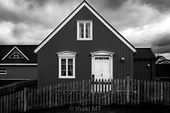 Black House, White Windows - Iceland (Iñaki MT) Tags: wood dream building wooden vibrant european scandinavian outdoor windows outdoors structure clouds home exterior architecture iceland cottage beautiful travel icelandic house nature black blackandwhite view europe streets white stykkishólmur occidental islandia is