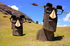 Vandals Attack Tourist Destinations (Jeff Burger) Tags: moaistatues moai easterisland chile parody vandals pranks jokeglasses touristdestinations fuzzypuss fauxnoses arrowthroughthehead jeffburger postcards novelty