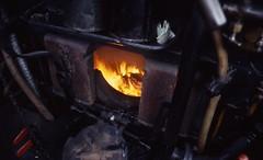 Fire door of GWR 6959 class Hall 4-6-0 no. 6960 'Raveningham Hall' Bridgnorth SVR 23 Mar 1996_scans469 (Gillett's Crossing) Tags: severnvalleyrailway railway shropshire steamlocos gwr