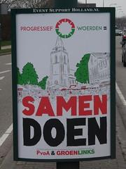 Woerden: Progressief Woerden Poster (harry_nl) Tags: netherlands nederland 2018 woerden elections verkiezingen gemeenteraad progressiefwoerden poster pvda groenlinks