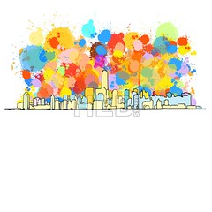 Colorful Skyline of New York City (Hebstreits) Tags: abstract america architecture art background building buildings business city cityscape color colorful design downtown drawing drawn grunge hand illustration isolated landmark liberty line manhattan metropolis modern new nyc office outline paint panorama silhouette sketch sky skyline skyscraper splash statue tourism tower town travel urban usa vector water watercolor white york