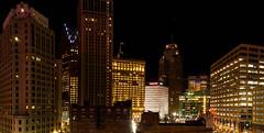 Downtown Detroit skyline (Victor Dvorak) Tags: detroit michigan downtown city architecture building nightphotography availablelight longexposure nikon d300s 20mmf28d