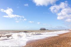 Crashing waves by the West Pier, Brighton *2* (Zoë Power) Tags: westpier beach uk brighton derelict blueskies coast sea seaside