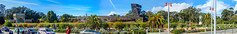 Panoramic: De Young Museum (mon_ster67) Tags: sanfranciscoca structure building citypark goldengatepark mon ©mon panoramic panorama sanfrancisco deyoungmuseum park architecture fascade canon canoneosrebel sigma ca museum sunny teagardendrive tower observationtower