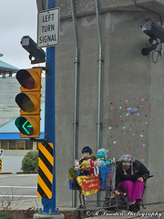 Street Person with her dolls (R. Sawdon Photography) Tags: streetpeople dolls overpass shoppingcart trafficisland