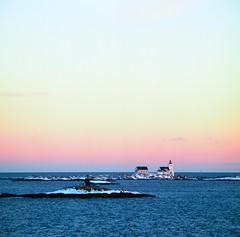 Homborsund Lighthouse (Jan Zielinski) Tags: homborsund lighthouse kodakektar kodak kiev88 norway norge austagder agder winter water coastal coast mediumformat russiancamera russianmediumformat 6x6