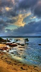 Colours of evening ('phone camera) (elphweb) Tags: water ocean bay sea hdr nsw australia creek thecreek sand sandy beach skies clouds cloud cloudy