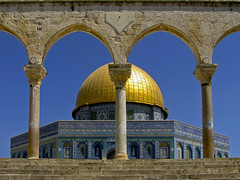 The Dome of the Rock (RobertLx) Tags: israel mosque dome religion muslim jerusalem city asia stone ancient palestine temple blue symmetry golden arch column middleeast islam building architecture sky