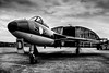 Hawker Hunter (aquanout) Tags: aeroplane plane blackandwhite monochrome clouds