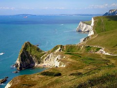 Durdle Door, Jurassic Coast (majka44) Tags: people blue light boat view colors england green travel trip holiday