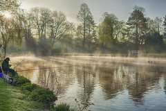 Pond at the Rosarium (jgokoepke) Tags: pond rosarium hdr mhdr uetersen germany dawn fog reflection water