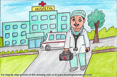 Hospital Building with Doctor (drawingtutorials101.com) Tags: hospital building with doctor for kids color pencil pencils sketching sketch sketches drawing draw speeddrawing how ambulance drawings