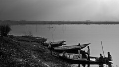 """There are things known and there are things unknown, and in between are the doors of perception."" - Aldous Huxley (Abeer!) Tags: chupi chupichar purbasthali westbengal bengal india blackandwhite boat abeer abeerbarman water landscape"