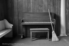 Church Hall (Working Image Photography) Tags: broom piano pew dust bench paneling carpet pillar church blackandwhite