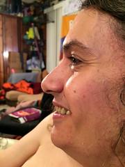 20170428 2240 - Pandemic Legacy date night #3 - Clint - (by Beth) - 10402247 (Clio CJS) Tags: 20170428 201704 2017 virginia alexandria clintandcarolynshouse upstairs gamenight gamenight20170428 profile sitting camerapersonbethh cameraphone smiling smile closeup