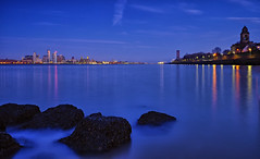 Liverpool from the Wirral (scon4061) Tags: liverpool rivermersey waterfront longexposure water rocks fujifilmxt1 fujifilm1855mm uk england
