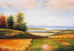 In the Meadows, Art Painting / Oil Painting For Sale - Arteet™ (arteetgallery) Tags: arteet oil paintings canvas art artwork fine arts landscape sky tree clouds summer grass horizon scenery cloud season travel environment scenic field scene outdoor outdoors sunny meadow sun rural spring countryside trees natural reflection autumn vacation sunlight yellow tranquil land country orange idyllic light day mountains peace landscapes fields pastorals lime paint