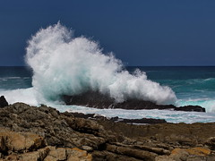 Sp!ash (Frank-Martens) Tags: bluesky breakers coast indianocean rocks sea southafrica stormsrivermouth tsitsikamma waves blauerhimmer wellen brecher indischerozean meerküste felsen