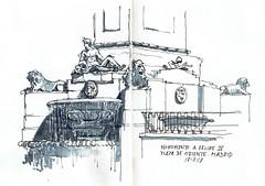 Monumento Felipe IV (P.Barahona) Tags: urbansketchers madrid fuente esculturas monumento leones anciano urbano plaza dibujo