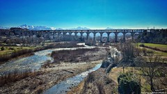 The bridge and the river (Viaduct Soleri, Cuneo, Piedmont, Italy) (Federico Fulcheri Photo) Tags: federicofulcheriphoto© italy piedmont cuneo silence travel visit tourism viaduct day sky stone river bridge landscape nature nopeople outdoors snapseed iphone8plus iphone apple