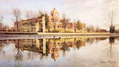 Reflections of Lewisville City Hall  #snapseed #stackables #puddlepictures #iphonephotography (peppermcc) Tags: reflections lewisvilletx snapseed stackables puddlepictures iphonephotography