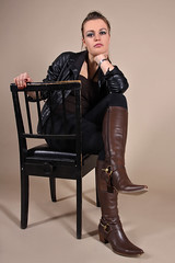 Ana-Laura 43 (The Booted Cat) Tags: sexy brunette hair model girl tight jeans leather jacket boots cowboyboots