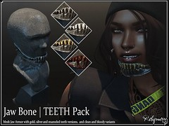 !Reliquary! Jaw Bone/ TEETH Pack (!Reliquary!) Tags: secondlife second life marketplace r reliquary gangster g og teeth futuristic scifi koarin yakubu paradoxical mode armor guard jawguard chinguard roleplay role play rp style card