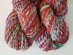 Two skeins (chavala) Tags: handspun myhandspun knitting spinning nestfiber merino superwash combospin