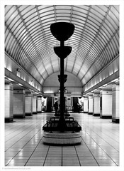 Jazz Cafe / Gants Hill LT Underground Station, London, UK (Andrew James Howe) Tags: london tube gantshill gantshillundergroundstation londontransport charlesholden mono blackandwhite architecture lt trains
