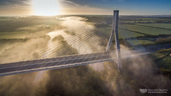 Boyne Bridge in the mist (mythicalireland) Tags: boyne valley bridge cable river mist fog morning dawn sunrise aerial air drone dji phantom cables sunbeams landscape drogheda louth meath ireland