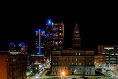 Downtown Detroit (Victor Dvorak) Tags: detroit michigan skyline buildings gmrenaissancecenter longexposure nightphotography nikon d300s 20mmf28d