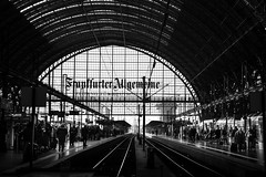 Hauptbahnhof Station tracks (Sam García GA.) Tags: frankfurt germany europe station track rails train blackandwhite