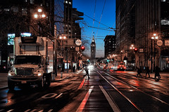 Market St, SFO (reinaroundtheglobe) Tags: sanfrancisco city california usa streetphotography streetlights streetreflections road morning urban