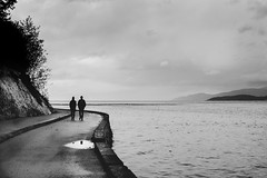 conversations (in the rain) (bluechameleon) Tags: sharonwish autumn bluechameleonphotography clouds couple curves foliage landscape mountains nature ocean path people puddle reflection seawall silhouette sky stanleyparkseawall trees water ngc